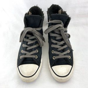 Converse Black Suede High Top Shoes Size 7.5